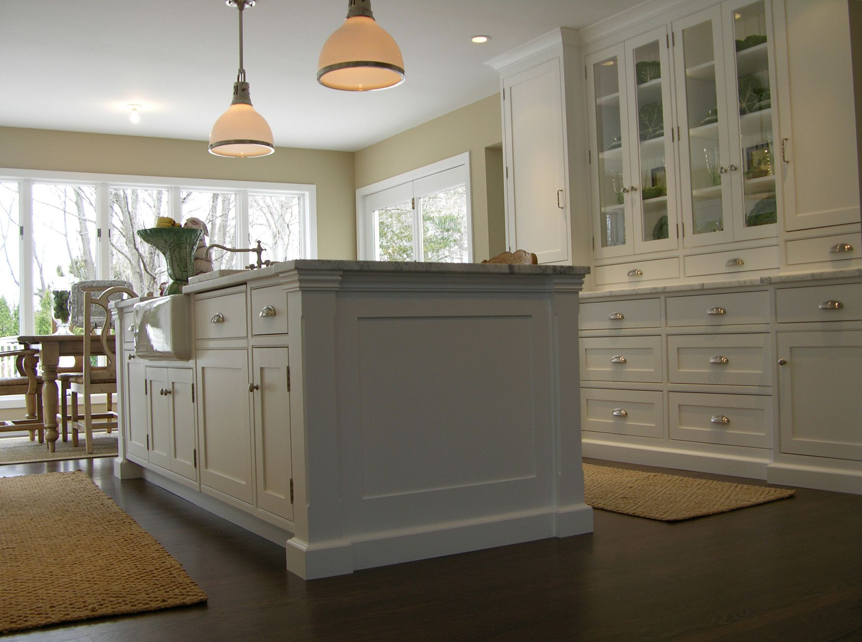 Beaded Face Frame Kitchen island base and mouldings Perfectly