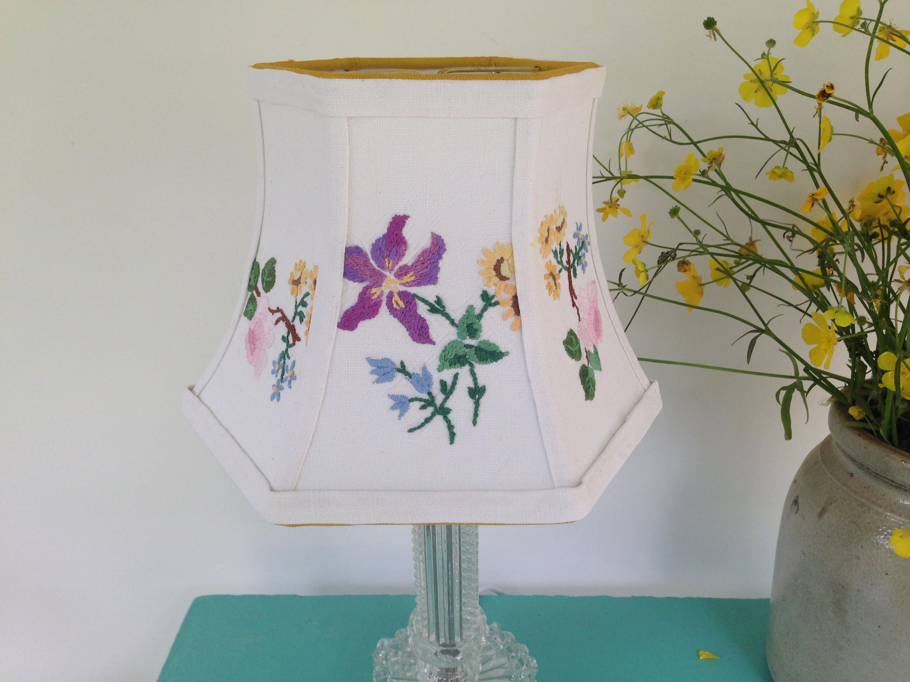 Embroidery floral lamp shade hex bell lampshade pretty colors 5 embroidery floral lamp shade hex bell lampshade pretty colors 5t x 8b x 6 high clip top cottage decor english vintage needlework aloadofball Gallery