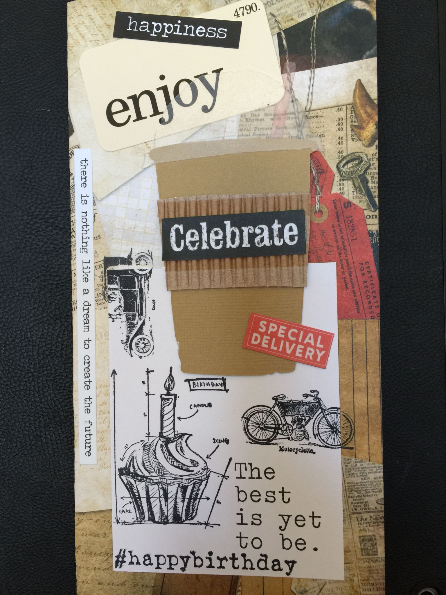 Birthday card for my son.  Supplies - Tim Holtz new  cup die,word art, stamps