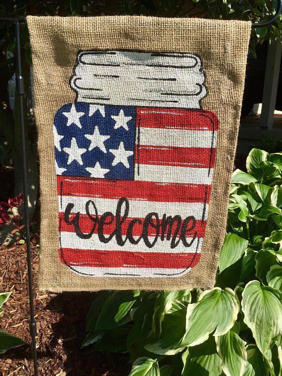 American Flag Mason Jar Burlap Garden Flag With Images Garden Flag Diy Burlap Garden Flags Burlap Yard Flag