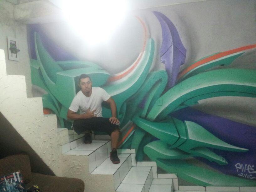 A arte e o artista! Letra 3D, em uma sala.