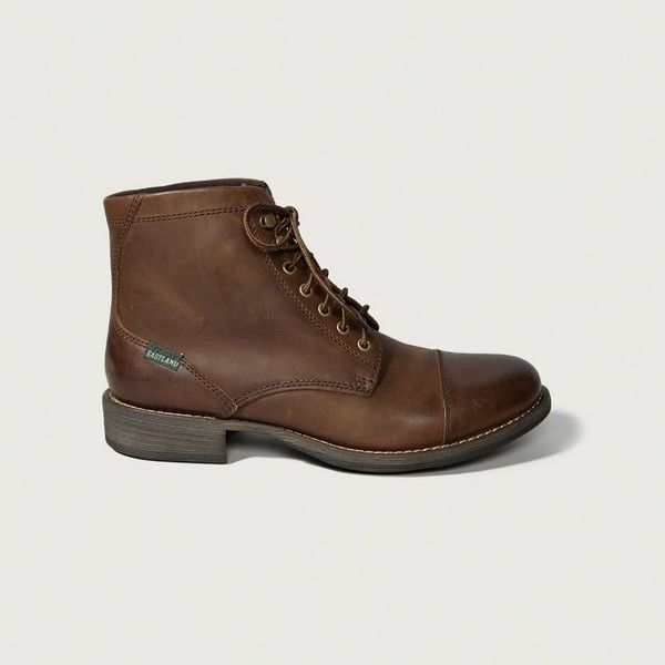 Abercrombie & Fitch Eastland High Fidelity Cap Toe Boots ($120) ❤ liked on Polyvore featuring men's fashion, men's shoes, men's boots, brown, mens brown cap toe dress shoes, mens lace up boots, mens cap toe shoes, mens cap toe boots and mens brown boots