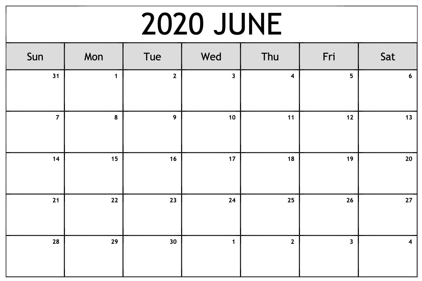 Print June 2020 Calendar Excel Sheet In 2020 Free Printable