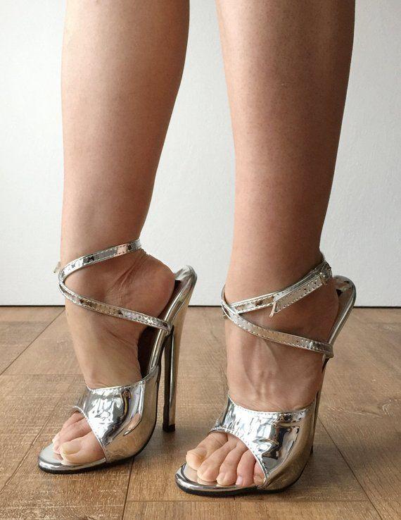 0a46e69c4070 RTBU SALMA 18cm Stiletto Heel Wrap Strap Sandals Slipper Silver Metallic