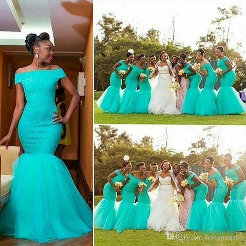 528e3a42a408 2017 South Africa Cheap Nigerian Bridesmaid Dresses off shoulder Mermaid  Maid Of Honor Gowns For Wedding Off Shoulder Mermaid Tulle Dress