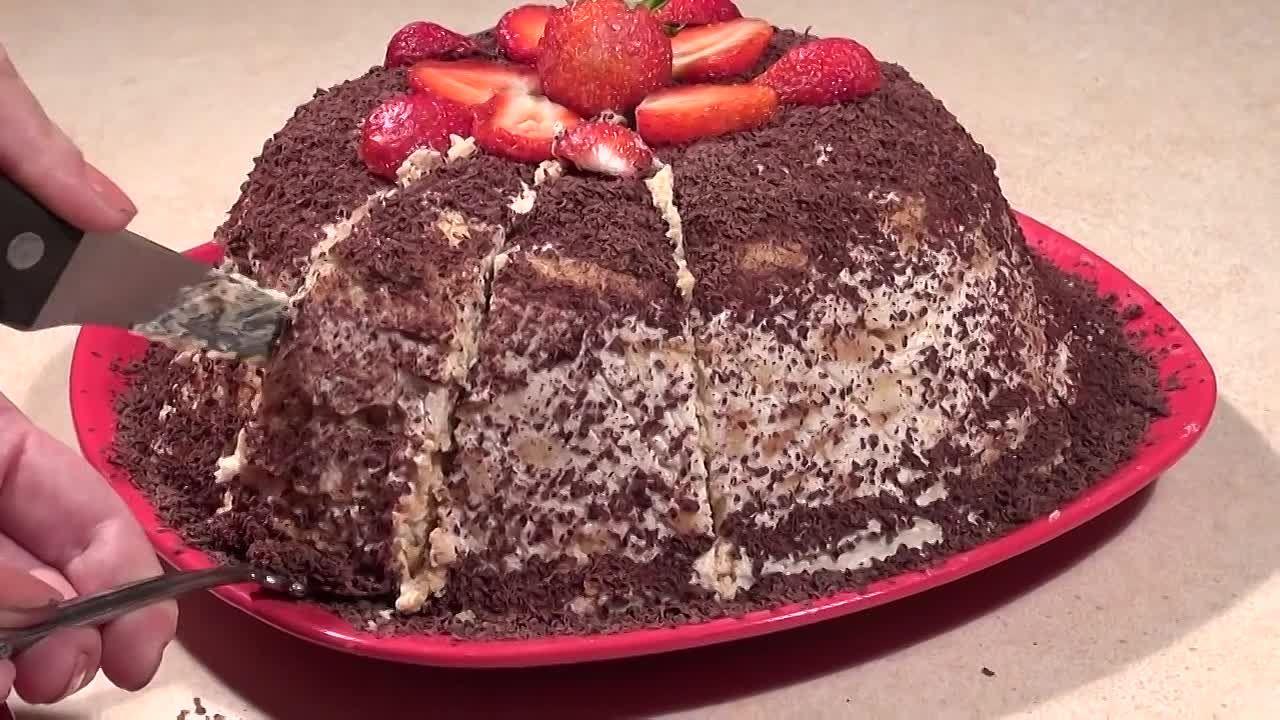 банановый торт из печенья без выпечки
