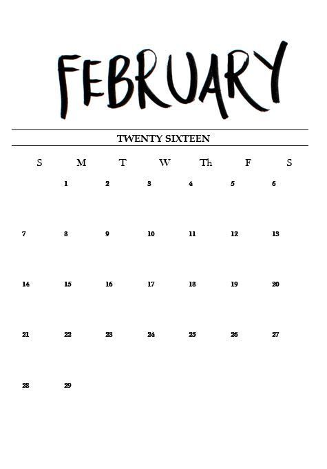 tumblr black and white calendar - Пошук Google | Календари | Pinterest