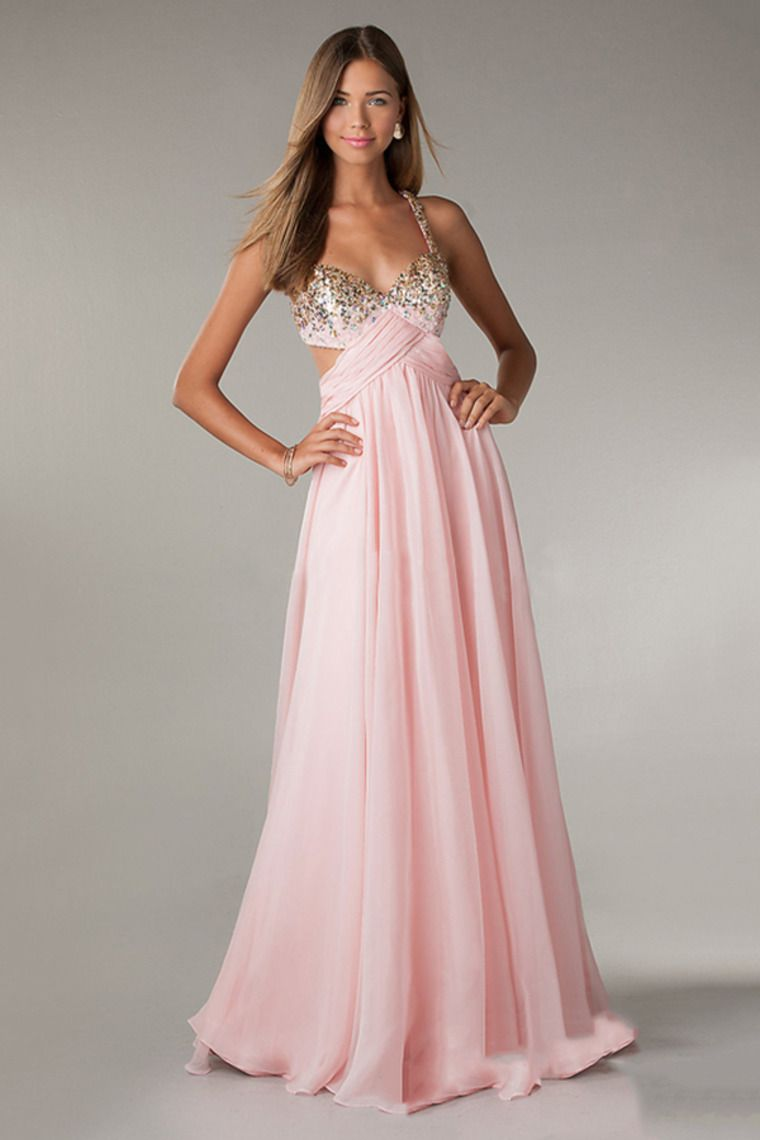 2014 Halter Beaded Bust Twist Straps Back Chiffon Floor Length Prom ...