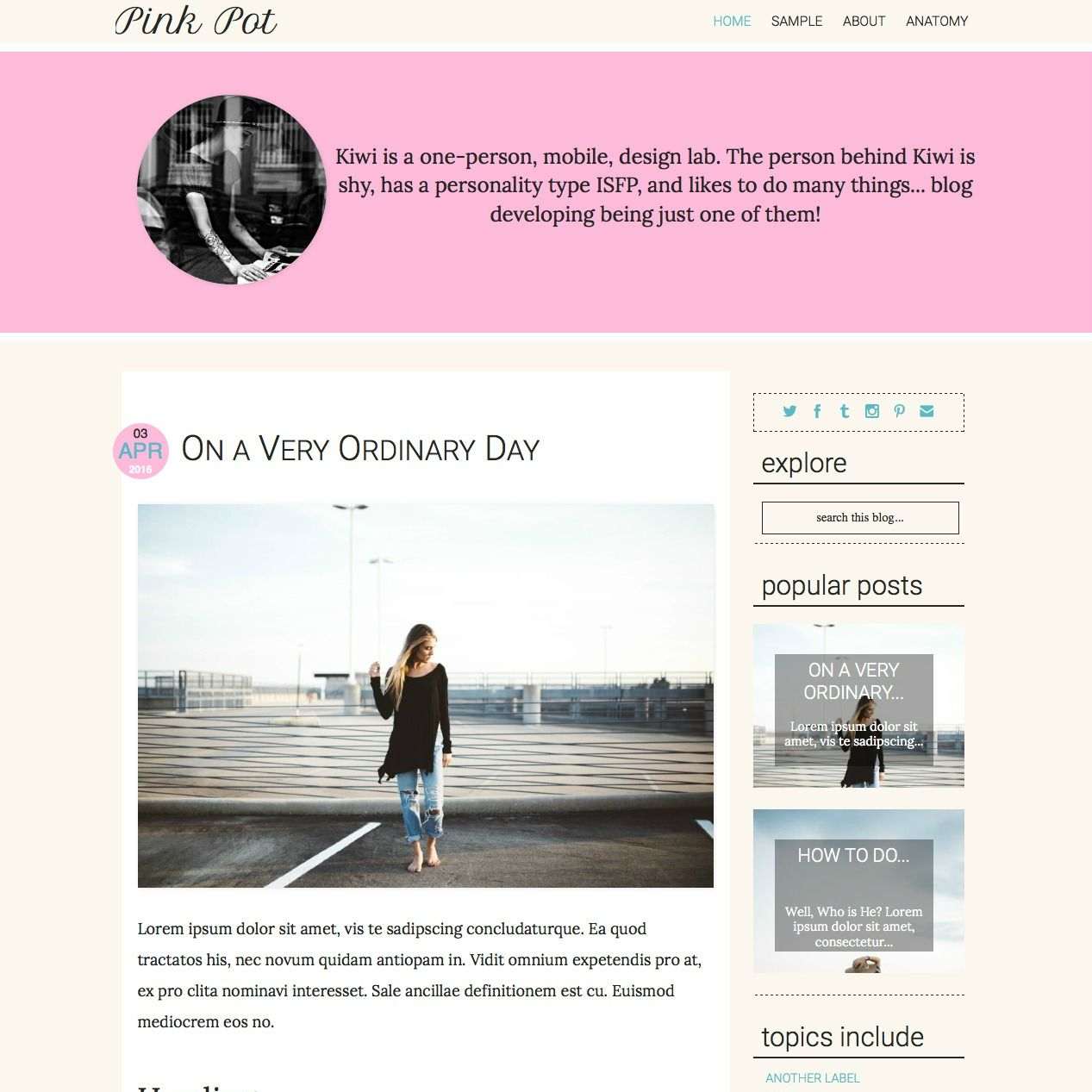 Pre-made Blogger Responsive Template: Pink Pot | Blogger + ...