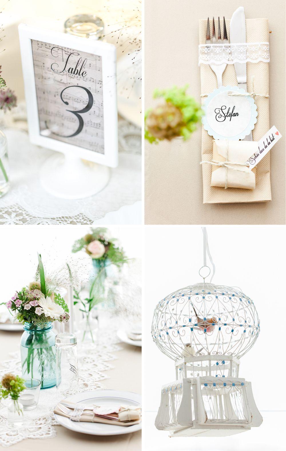 Hbsche Tischdeko fr eine VintageHochzeit Wedding