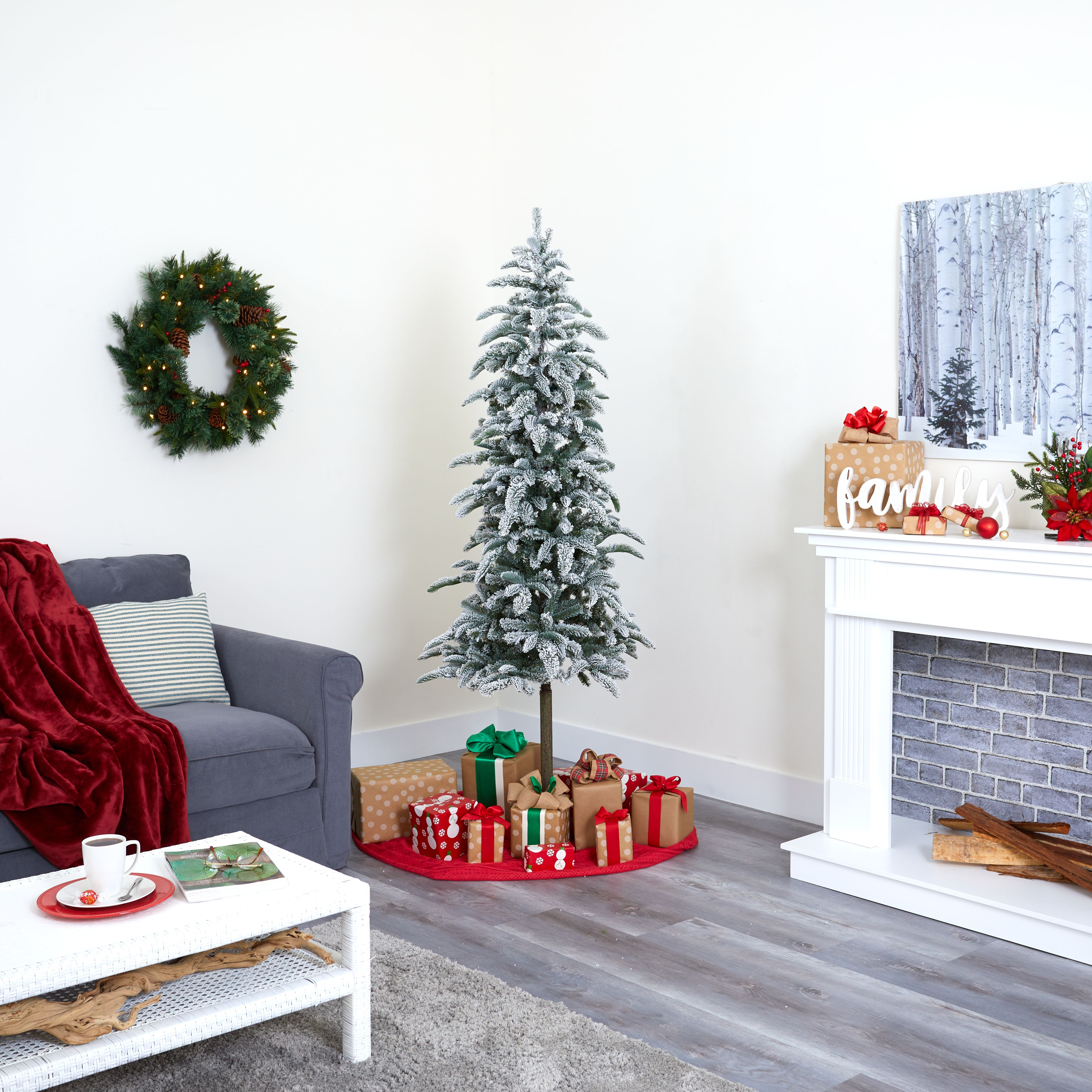 Albero Di Natale Washington Deluxe.6 5 Flocked Washington Alpine Christmas Artificial Tree With 250 White Warm Led Lights And 637 Bendable Branches In 2020 Fake Christmas Trees Artificial Christmas Tree Christmas Tree
