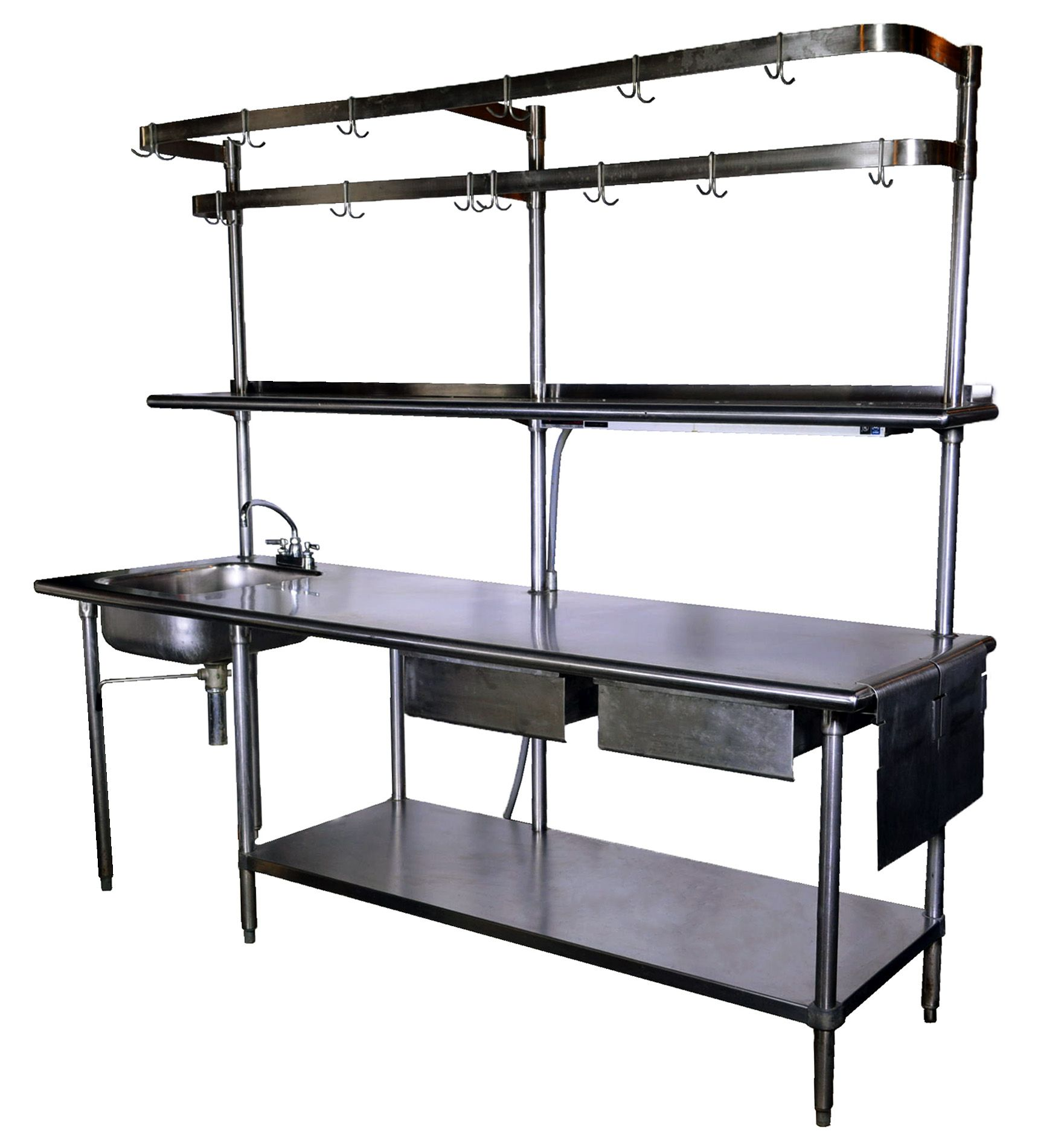 Really Cool Stainless Steel Prep Unit With Sink And Pot Hangers Industrial Kitchen Design White Modern Kitchen Industrial Kitchen