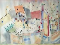 """Abstract Watercolor Painting """"Magic"""" Signed H. Dreyfuss"""