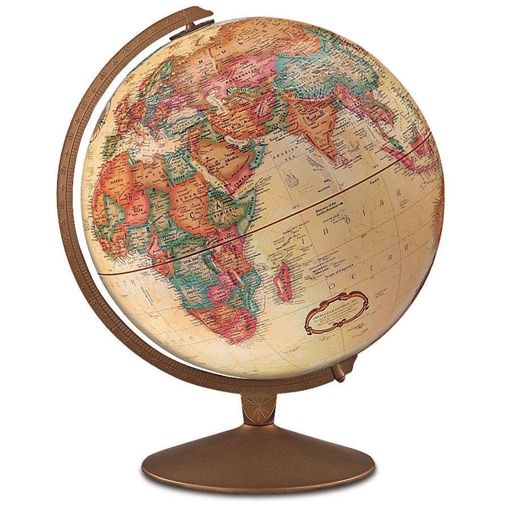 "World Globe Replogle Franklin Globe 12"" Antique Metal Bronze"
