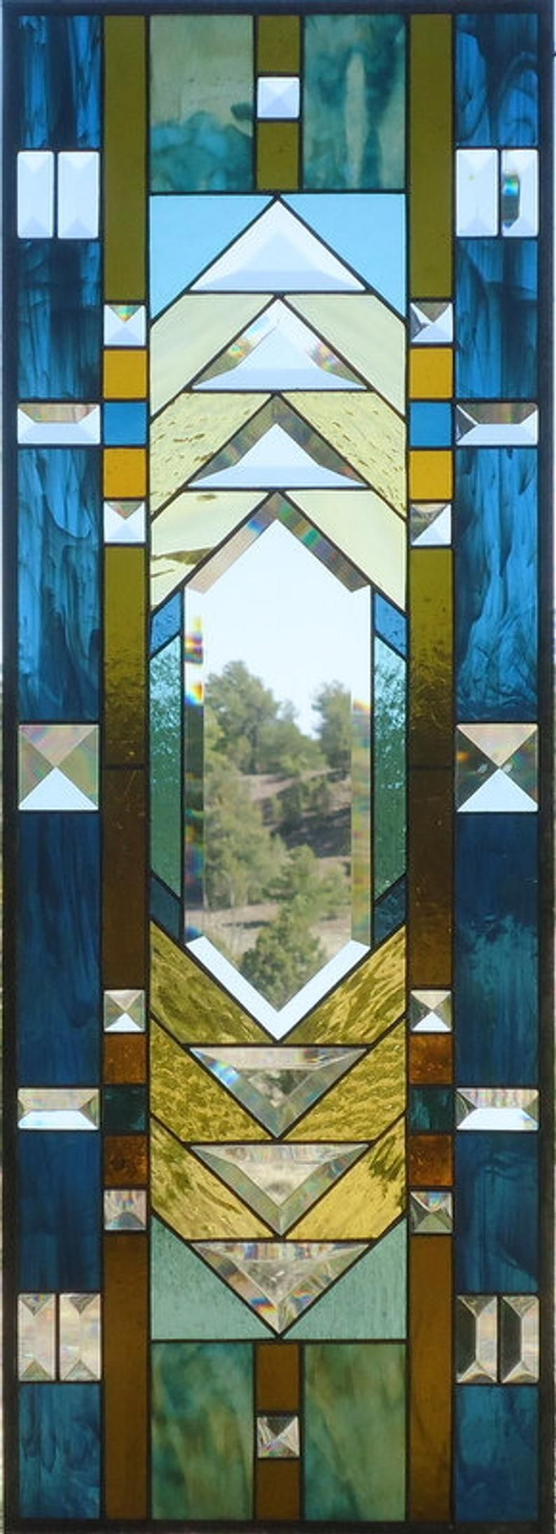 Stained Glass Window Panel Prairie Arts Crafts Prairie Stained Glass Transom Stained Glass Transom Flw Style 12 3 8 X 34 3 8 In 2020 Stained Glass Windows Stained Glass Stained Glass Circles