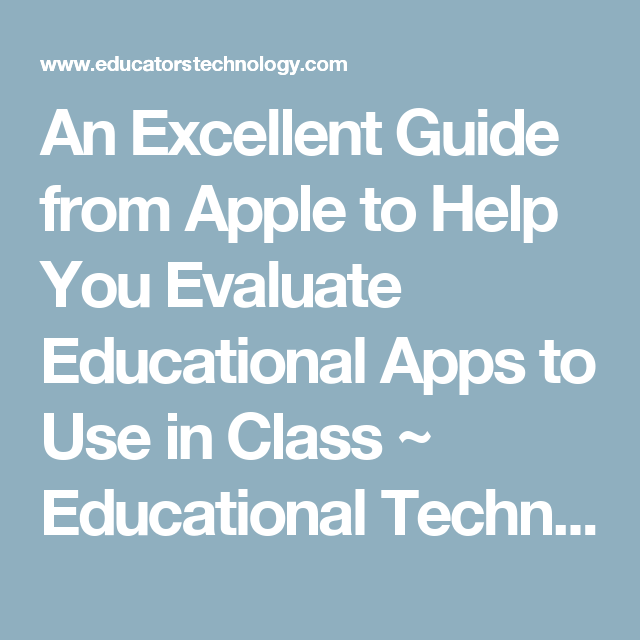 An Excellent Guide From Apple To Help You Evaluate