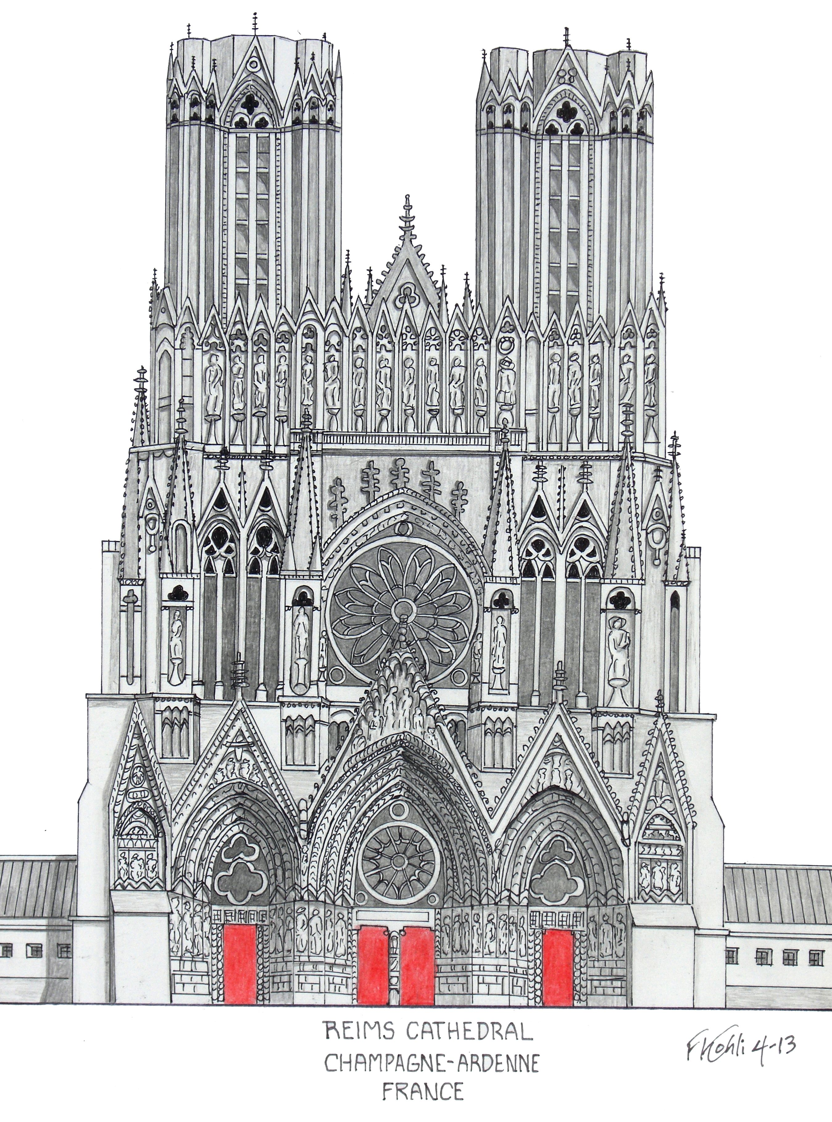 Reims Cathedral Pen And Pencil Drawing By Frederic Kohli Of The