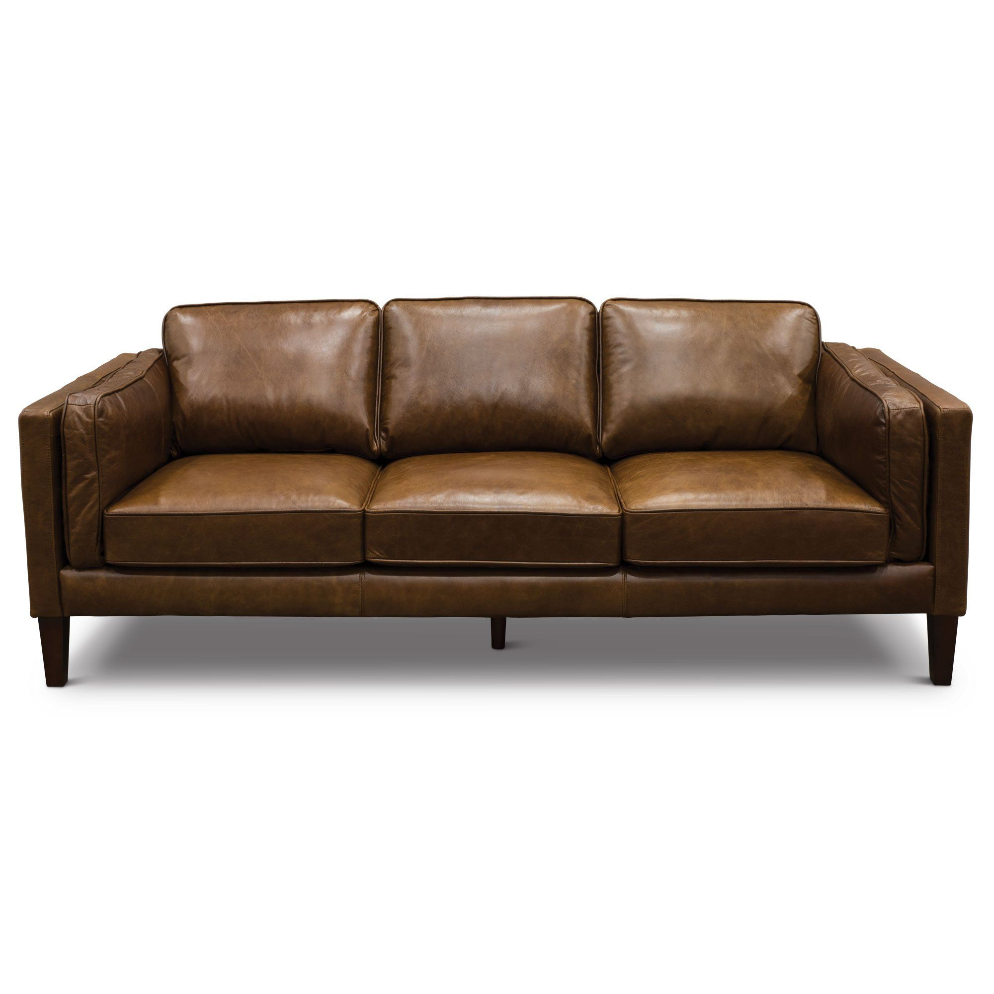 Modern Classic Cocoa Brown Leather Sofa - Brompton | RC Willey ...