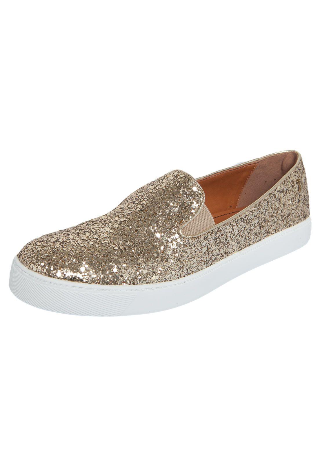 bb3521f32 Tênis Slip On Santa Lolla Glitter Dourado - Compre Agora