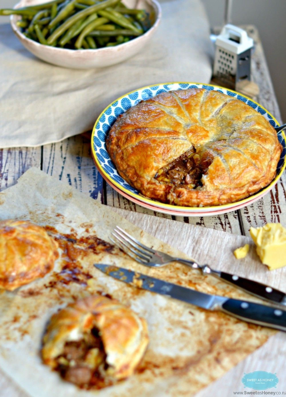 Steak and Cheese Pie with green beans by www.sweetashoney ...