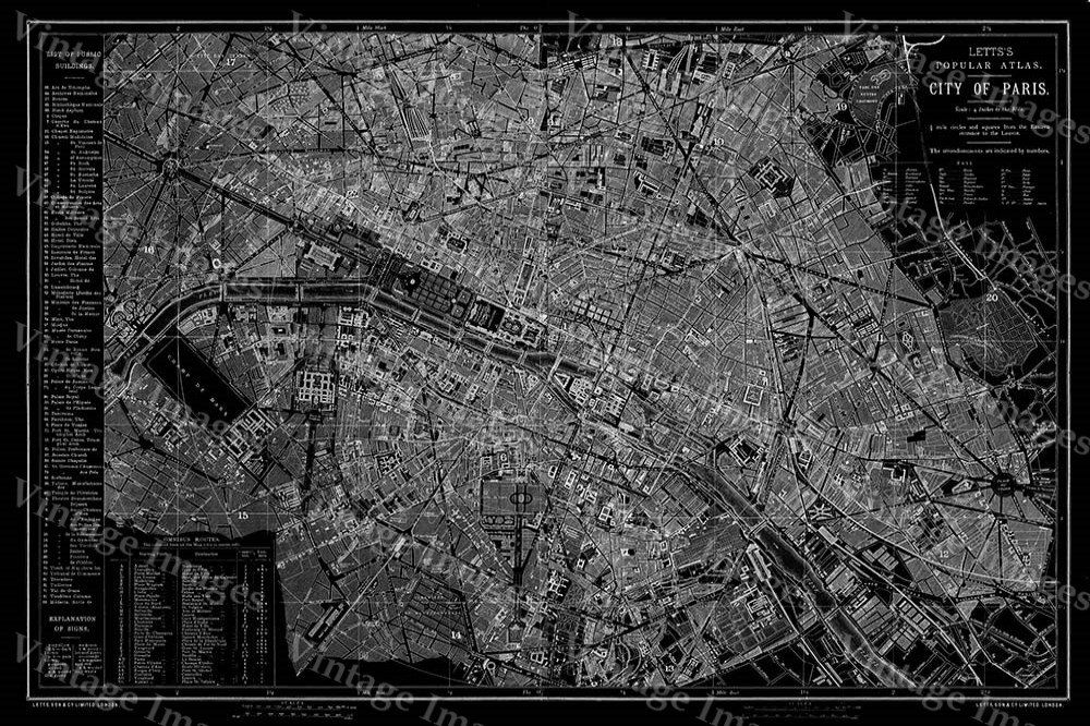 Giant 1883 Historic Paris Map Black And White Antique Restoration Hardware Style Wall Fine