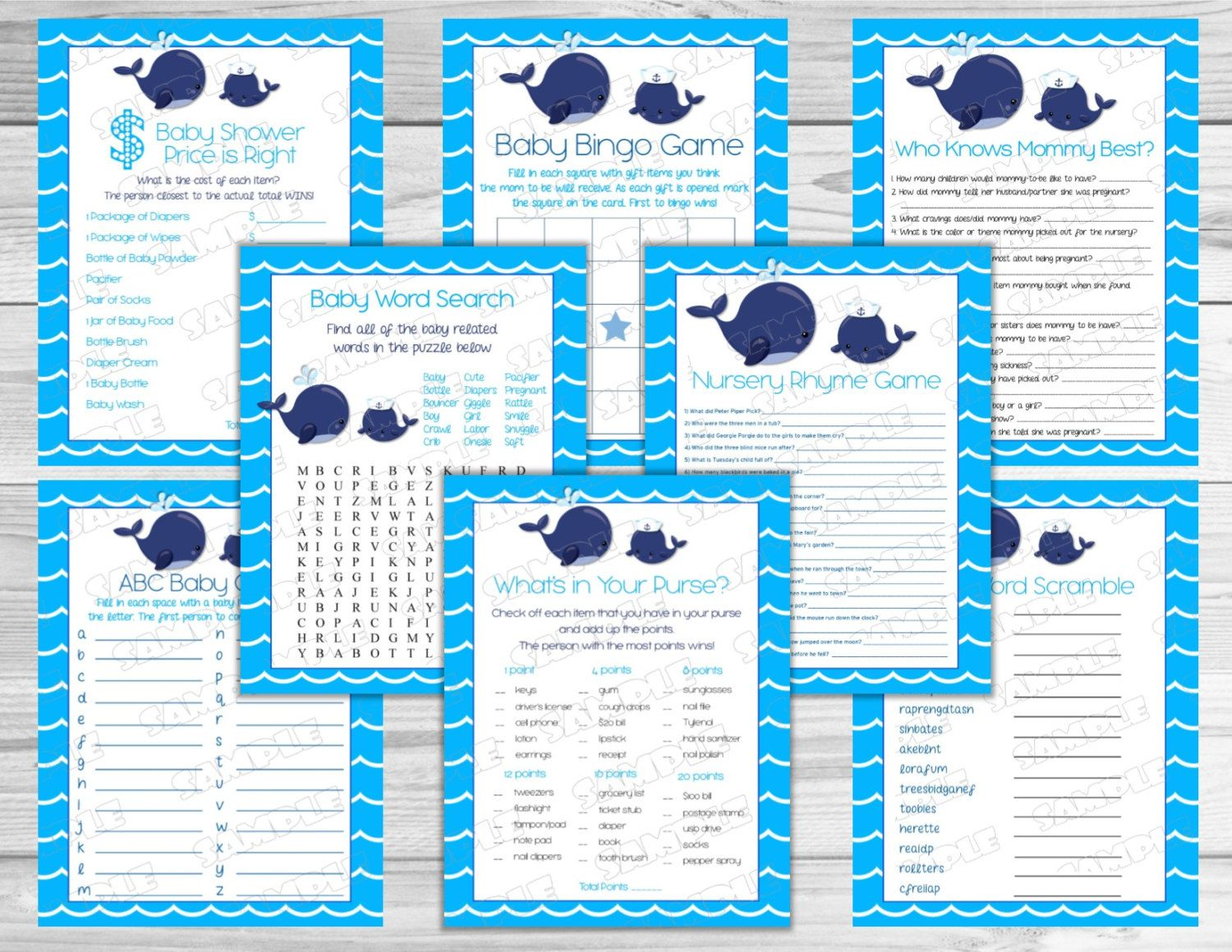 Little Blue Whale Nautical Baby Shower Games Pack 8 Printable Games
