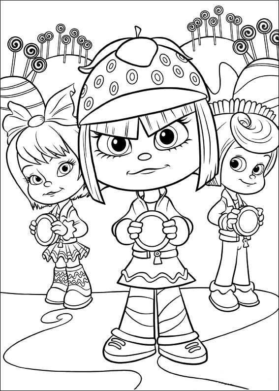 coloring page wreck it ralph girls