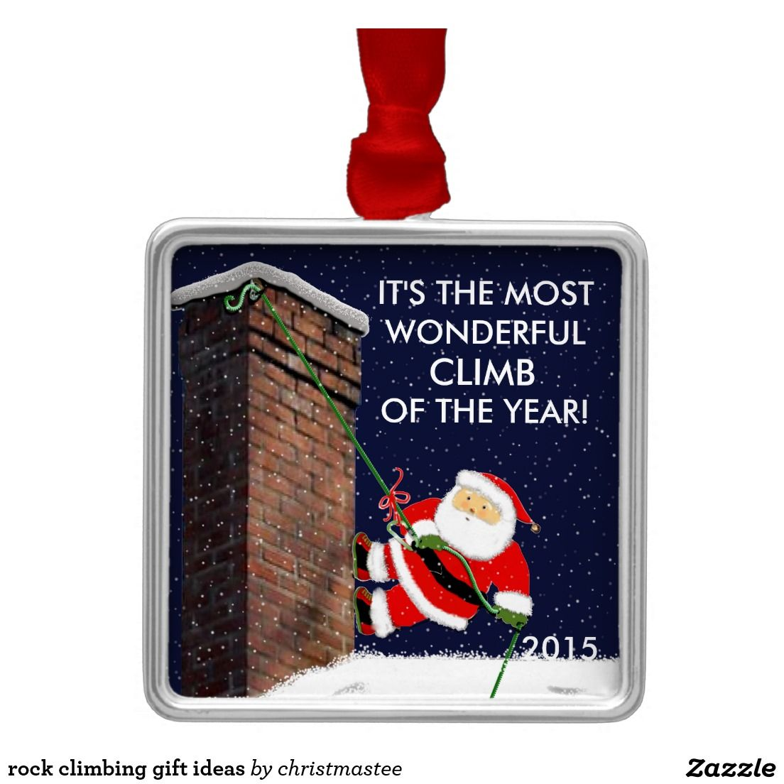 Rock climbing christmas ornaments - Climbing Rock Climbing Gift Ideas Square Metal Christmas Ornament