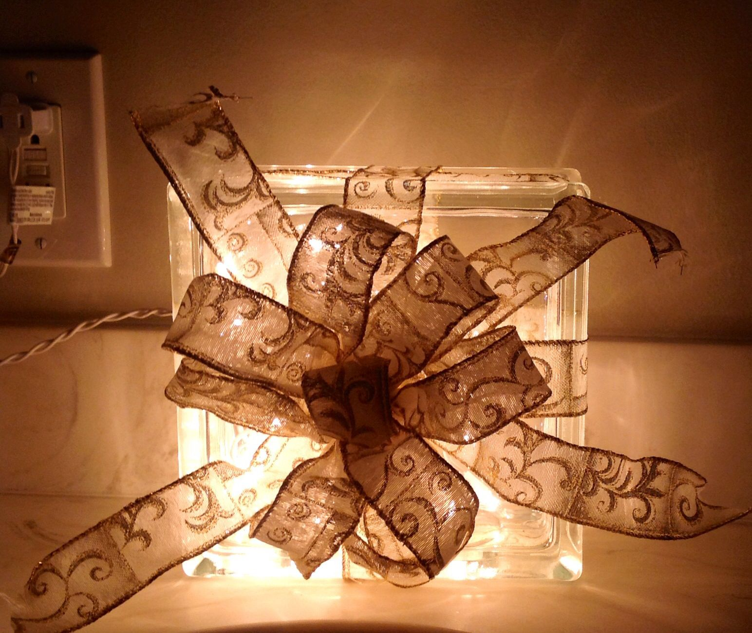 Glass block Christmas decoration that my neighbor made!! Hoping to make these next year!!