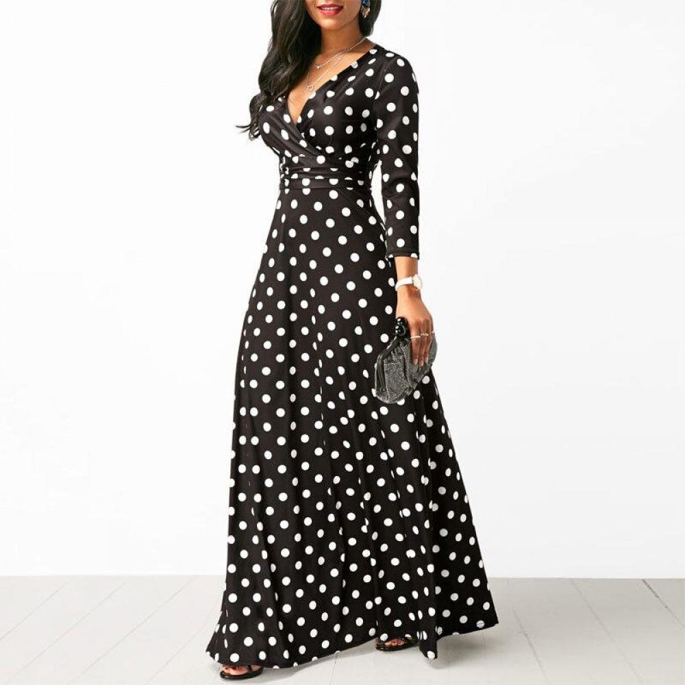 Polka Dot Vintage Maxi Dress Vintage Maxi Dress Long Sleeve Boho Dress Maxi Dress [ 1000 x 1000 Pixel ]
