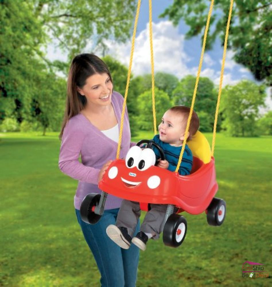 Little Tikes Swing Set Red Car Baby Toddler Seat Outdoor Toys