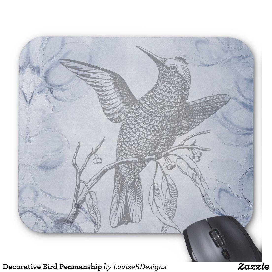 Decorative Bird Penmanship Mouse Pad