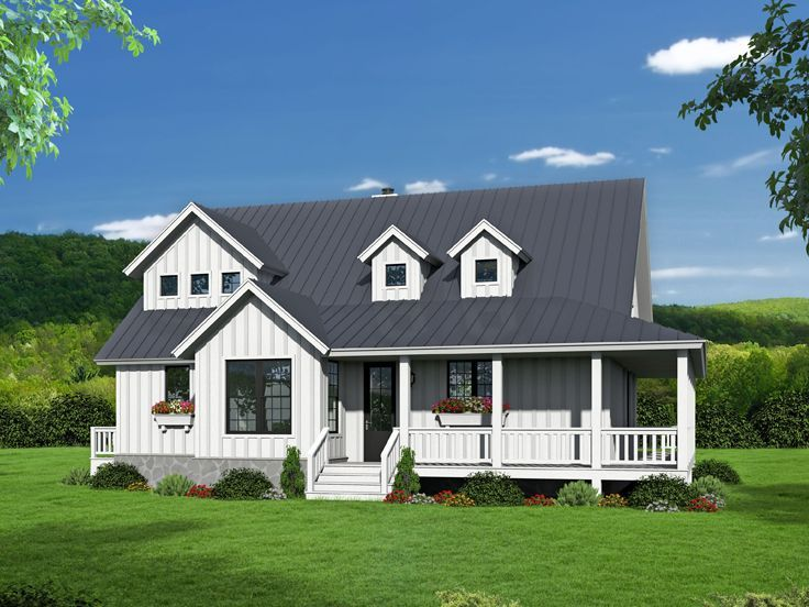 062H0132 TwoStory Country House Plan with WrapAround