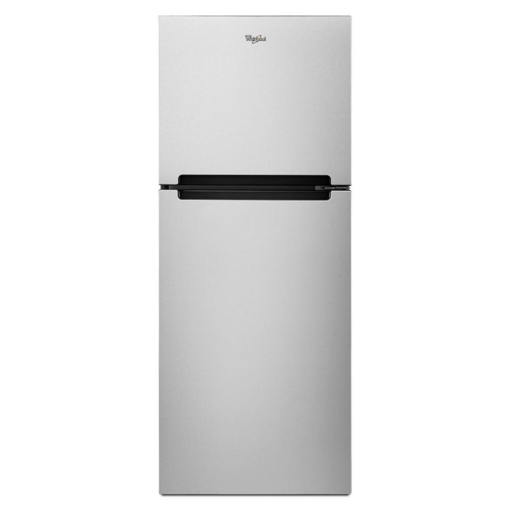 Whirlpool 10 7 Cu Ft Top Freezer Refrigerator In Monochromatic Stainless Steel Wrt111sfdm The Home Depot Top Freezer Refrigerator Stainless Steel Refrigerator Top Mount Refrigerator