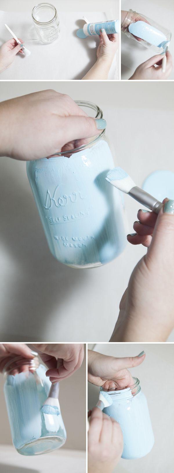 Badezimmer einmachglas ideen how to make distressed chalkboard mason jars  bemalte gläser deko
