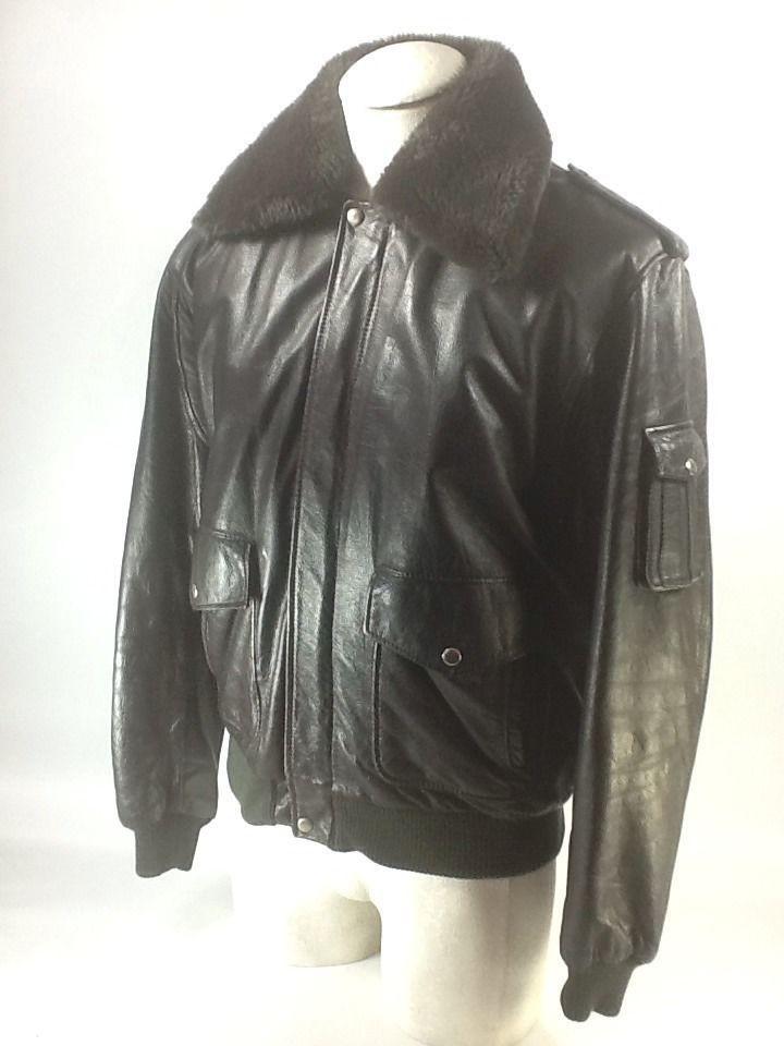 Vintage Wilson's Leather Bomber Jacket Flight Faux Fur Collar 44 M ...