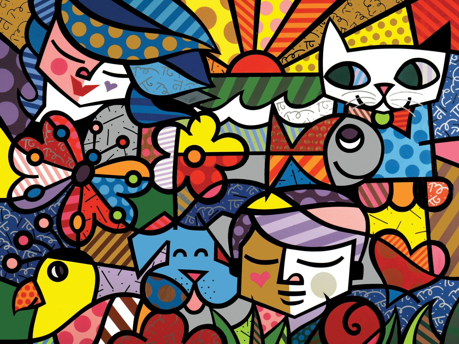 contemporary artists   Modern Art Print Poster Romero Britto Wall Wallpaper. contemporary artists   Modern Art Print Poster Romero Britto Wall