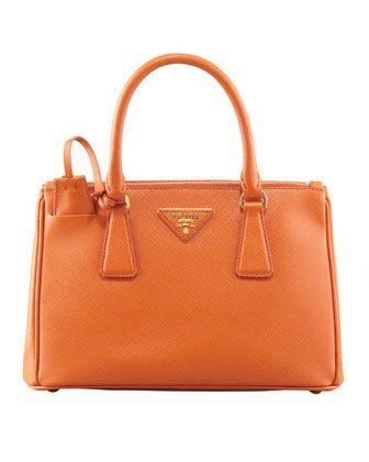 Prada Saffiano Double Zip Mini Crossbody Orange Papaya Bags Mini Tote Bag Prada Mini Saffiano