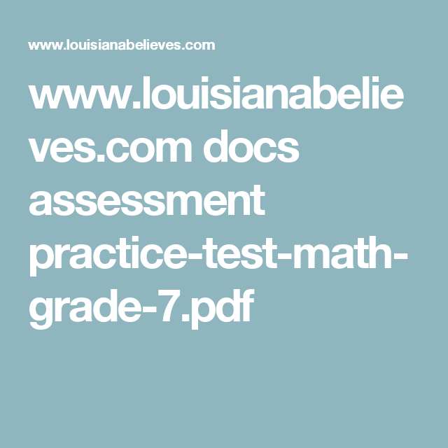 www louisianabelieves com docs assessment practice-test-math