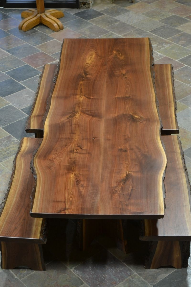Custom made live edge walnut slab dining table beth for Wood table top designs