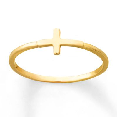 Young Teen Sideways Cross Ring 14K Yellow Gold | Gold is