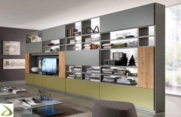Libreria bifacciale di design da soggiorno in legno | Soggiorni ...