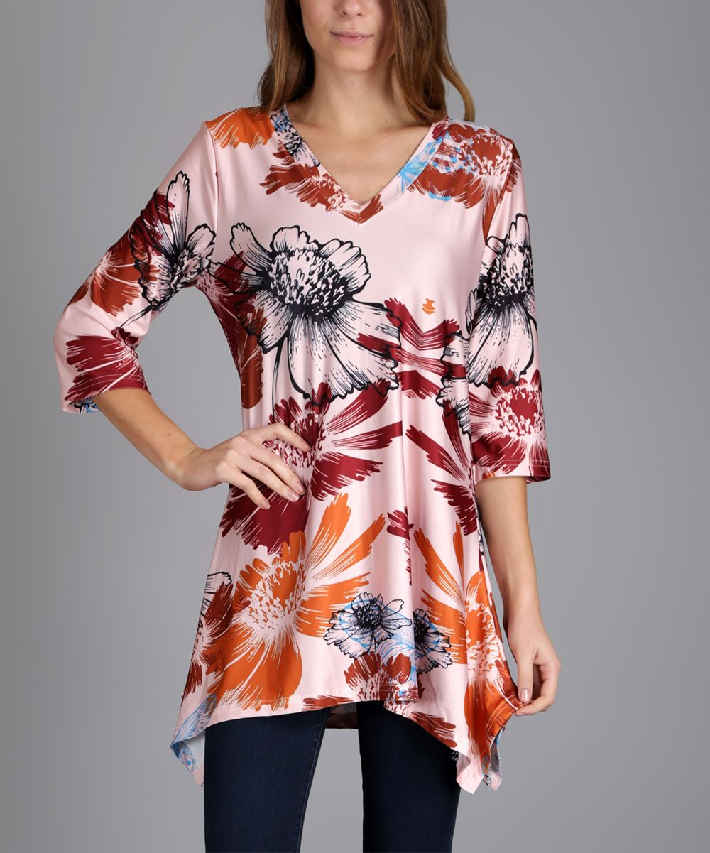 Peach & Rust Floral Sidetail V-Neck Tunic - Plus Too