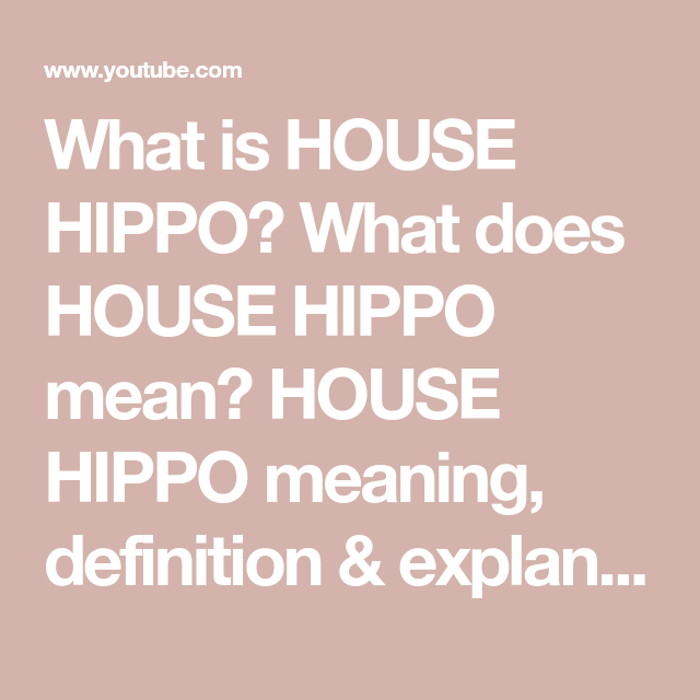 What Is House Hippo What Does House Hippo Mean House Hippo Meaning Definition Explanation Youtube In 2020 House Hippo Meant To Be Hippo