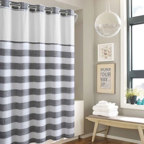 Hookless Yarn Dye Stripe Shower Curtain Water Resistant Liner