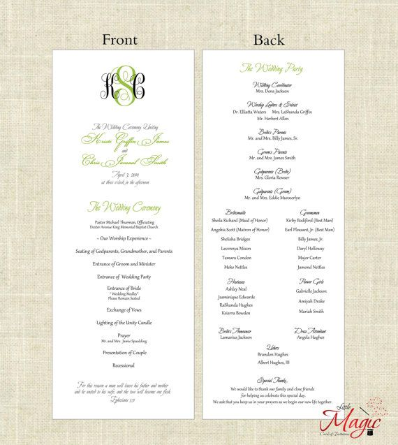 Printable DIY Wedding Programs Simple But by LittleMagicCards - wedding agenda sample