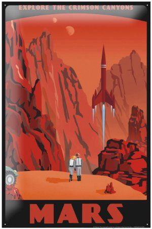 Retro Tin Sign Wall Decor Space Crimson Canyons of Mars Metal Plate 8X12""