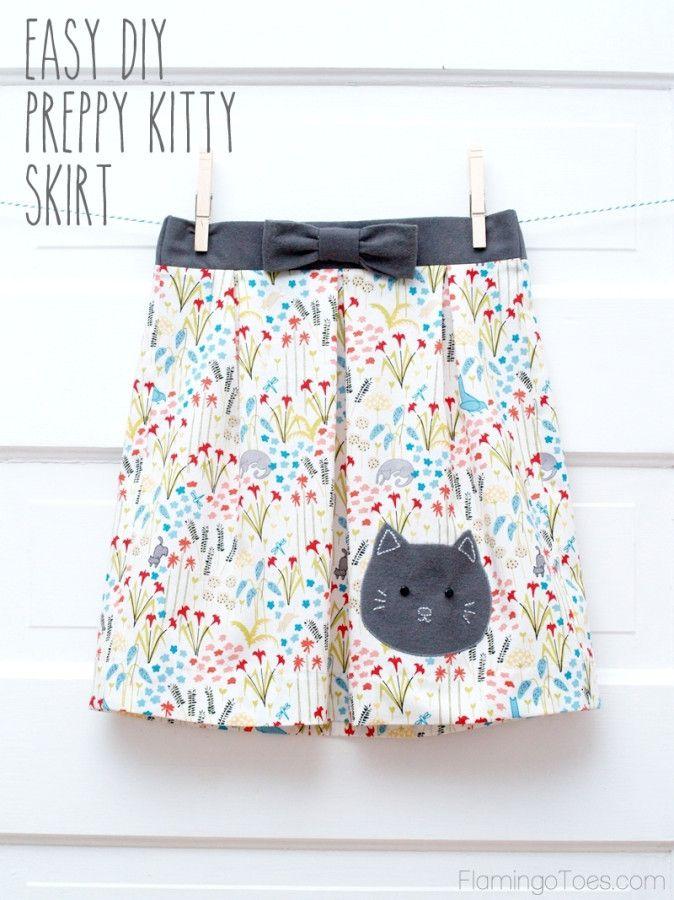 Easy DIY Preppy Kitty Skirt - | Martina | Pinterest | Falda, Costura ...