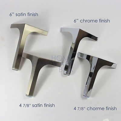 Metal Sofa Legs Stainless Steel Cabinet Table Solid Feet Square 4 Pc Satin Chome