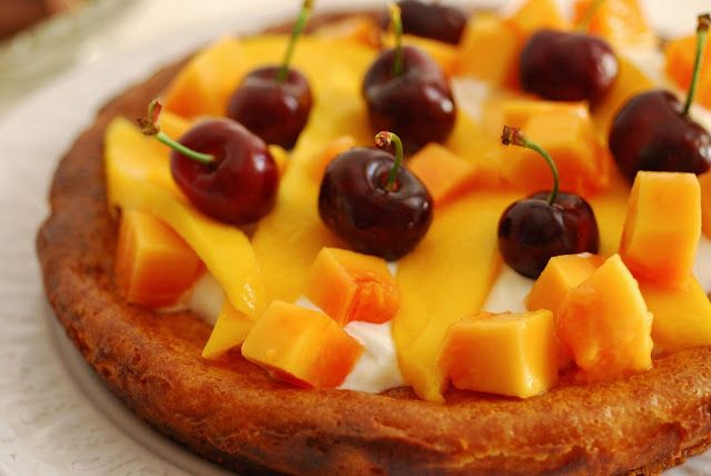Tarta de queso con mango y papaya